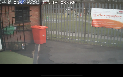 Veiw from front accident camera giving speed, date & time stamp for insurance.